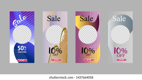 Template of stories sale banner background. template photo, can be use for, landing page, website, mobile app, poster, flyer, coupon, gift card, smartphone template, web design