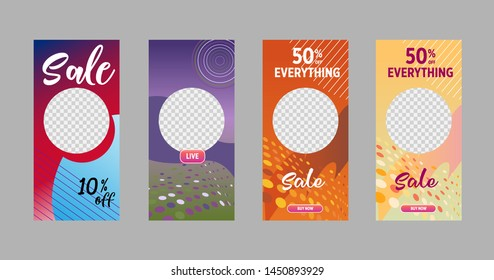 Template of stories sale banner background, template photo, can be use for, landing page, website, mobile app, poster, flyer, coupon, gift card, smartphone template, web design