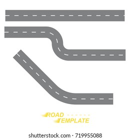 Template a straight and winding road on a white background.  Flat vector illustration EPS 10