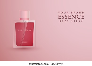 Template a style a glass bottle a perfume on pink background. Vector illustration. Template for your design