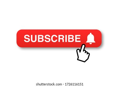 Template subscription red button and finger click cursor. Social media web button, element channel, video content.