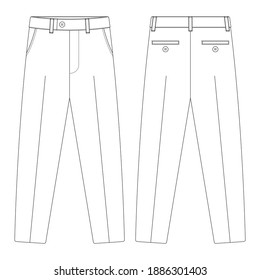 Template suit trouser pants vector illustration flat design outline clothing