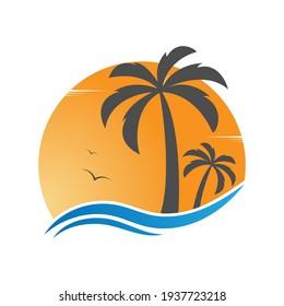 Template for the summer holiday logo. Vector illustration, flat design.