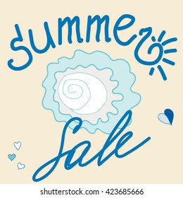 Template summer sale banner. Blue and beige background. Vector.