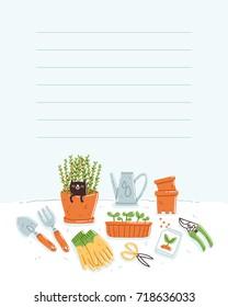Template for taking notes, garden theme, vector illustration