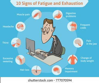 Template with ten signs of fatigue and tired clerk on blue background. Info-table for signs of fatigue and exhaustion. Horizontal vector illustration. Infographics.