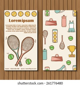 Template for tennis booklet, card of flyer with hand drawn objects for your design