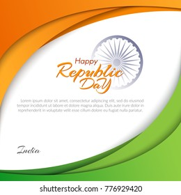 Template with the text of the Republic Day in India on January 26 Abstract background with flowing lines of colors of the national flag of India Banner invitation card postcard Element design Vector