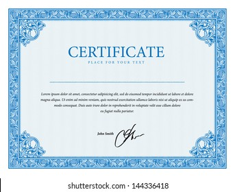 Template that is used in diplomas, certificate, and currency with floral elements. Vector illustration