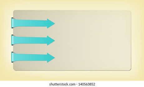 The template with three blank blue arrows / The card with arrows / Three arrows and card