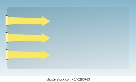 The template with three blank yellow arrows / The card with arrows / Three arrows and card