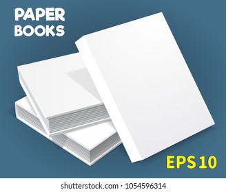 A template of three hardcover books. They lay on the table. one on another. The top stands upright. A layout for your business, creative illustration. Isolated on a blue background. Vector drawing.