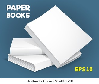 A template of three hardcover books. They lay on the table. one on another. The top is ajar. A layout for your business, creative illustration. Isolated on a blue background. Vector drawing.