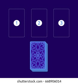Template for three tarot card spread with deck. Reverse side. Place for three cards. Vector illustration