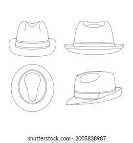 Template trilby hat vector illustration flat sketch design outline headwear