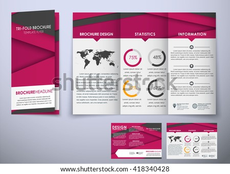 Template Triple Folding Brochure Material Style Stock Vector