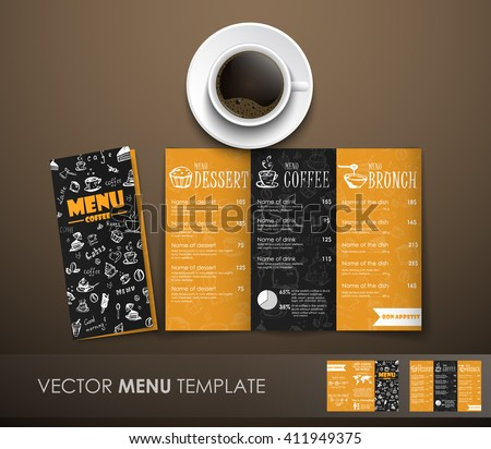 template triple folding menu black yellow stock vector royalty free