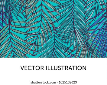 Template with tropical palm leaves. Botanical vector illustration. Exotic background with a sample text. Can be used as a flyer, banner,  advertising, corporate identity