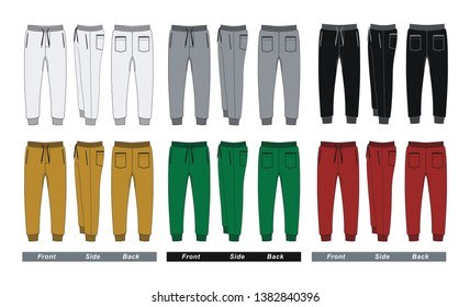 Template trousers pants, front, back and side. Colorful, vector image