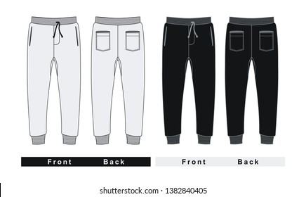 Template trousers pants, front and back . Black white, vector image