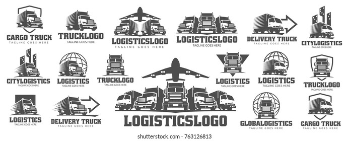 A template of Truck Logo, cargo logo, delivery cargo trucks, Logistic logo
