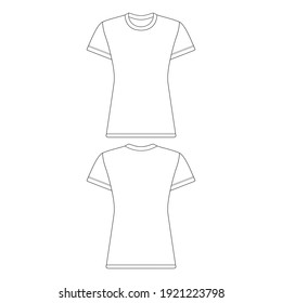 Template t-shirt women vector illustration flat sketch design outline