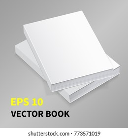Template of two books with blank cover. Lying on the surface In the perspective. Realistic image. On a gray background. Isolated object for design.   Vector illustration.