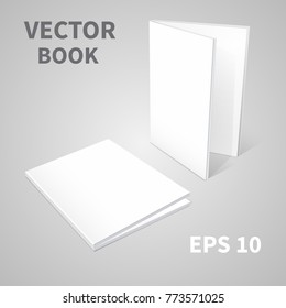 Template of two books. With empty covers. Standing vertically on the surface, in perspective, Lying on the surface. Realistic image. On  gray background. Isolated object for design. Vector EPS 10
