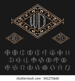 Template for two letters monogram. Set from A to Z. Luxury stylish elegant vector signs.