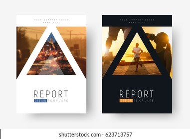 Template of universal covers for business, travel, sports or food. Design of modern flyers, presentations, brochures of standard size with triangles for photos. mosaic for sample.