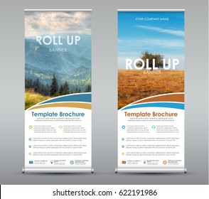 Template universal roll up banner for business or travel. Design a vertical brochure with mountains and a field, with a place for photos and information. Vector illustration. Set