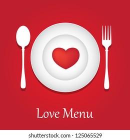 Template for Valentine day. Restaurant Menu Card Design.