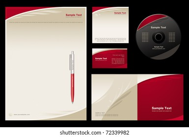 Template vector background (blank, card, cd, note-paper, cover, pen)