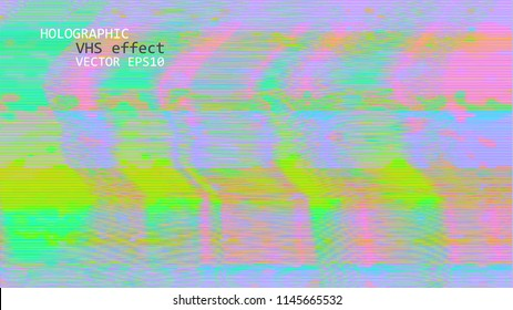Template of a vector background with holographic neon colors with screen glitch VHS effect.  TV signal fail. Hipster style.
