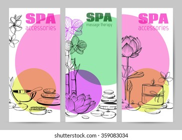 Template vector card. Accessories for SPA procedure. Set of vector hand drawn elements. Natural stones, flowers, candle. Sketch.