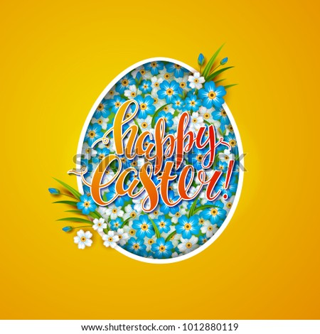 template vector card flowers shaped egg stock vector royalty free
