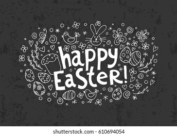 Template vector card with hand drawn elements: bunny, cake, willow, eggs and chicken on the 