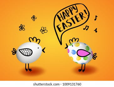 Template vector card with realistic 3D eggs decorated chicken. Hand drawn inscription Happy Easter. Yellow background.
