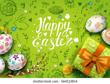 Easter background shutterstock template vector card with realistic eggs gift box and flowers handwriting inscription happy easter negle Image collections