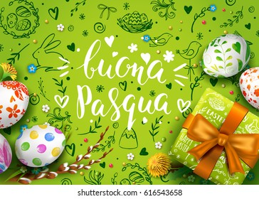 Template vector card with realistic eggs, gift box and flowers. Handwritten Italian inscription Happy Easter. Green background. Willow branch and dandelions.  Lettering, calligraphy. 3D. Doodles.