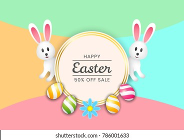 Template vector card with realistic eggs, rabbits and flowers. Easter sale banner background template with beautiful colorful spring flowers and eggs. Vector illustration. Easter rabbit with Easter eg