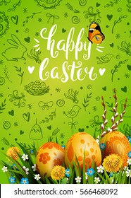 Template vector card with realistic golden eggs, grass and flowers. Handwriting inscription Happy Easter. Bright green background. Willow and dandelions. Floral painted. Lettering, calligraphy. 3D.