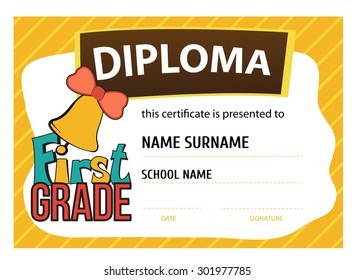 template vector of child diploma or certificate to be awarded to the first graders at school