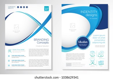 Template vector design for Brochure, Annual Report, Magazine, Poster, Corporate Presentation, Portfolio, Flyer, layout luxury with blue and blue color size A4, Front and back, Easy to use Infinity Con