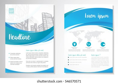 Template vector design for Brochure, Annual Report, Magazine, Poster, Corporate Presentation, Portfolio, Flyer, Website, layout with green and blue color size A4, Front and back, Easy to use and edit.