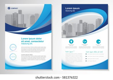 Template vector design for Brochure, Annual Report, Magazine, Poster, Corporate Presentation, Portfolio, Flyer, layout modern with green and blue color size A4, Front and back, Easy to use and edit.
