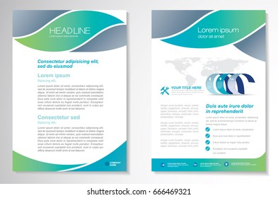 Template vector design for Brochure, Annual Report, Magazine, Poster, Corporate Presentation, Portfolio, Flyer, layout modern with gradient color size A4, Front and back, Easy to use and edit.