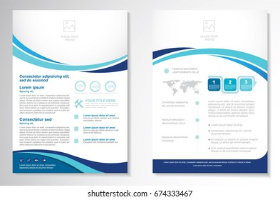 Template vector design for Brochure, Annual Report, Magazine, Poster, Corporate Presentation, Portfolio, Flyer, layout modern with  blue color size A4, Front and back, Easy to use and edit.