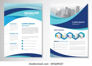 Template vector design for Brochure, Annual Report, Magazine, Poster, Corporate Presentation, Portfolio, Flyer, layout modern with blue and green color size A4, Front and back, Easy to use and edit.