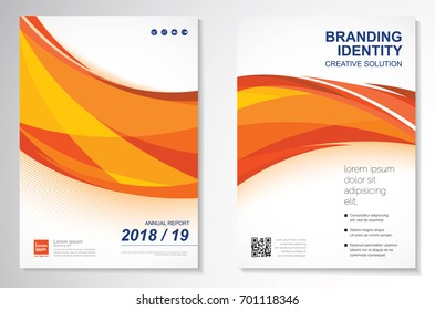 Template vector design for Brochure, Annual Report, Magazine, Poster, Corporate Presentation, Portfolio, Flyer, infographic, layout modern with Orange color size A4, Front and back, fire design